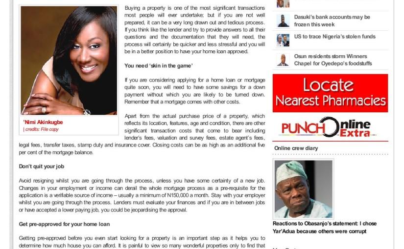 Real Estate, Housing in Nigeria, Mortgage, Mortgage in Nigeria, How to qualify for mortgage in Nigeria, How to qualify for mortgage, Money, Money Matters, Nimi Akinkugbe, Punch Newspaper
