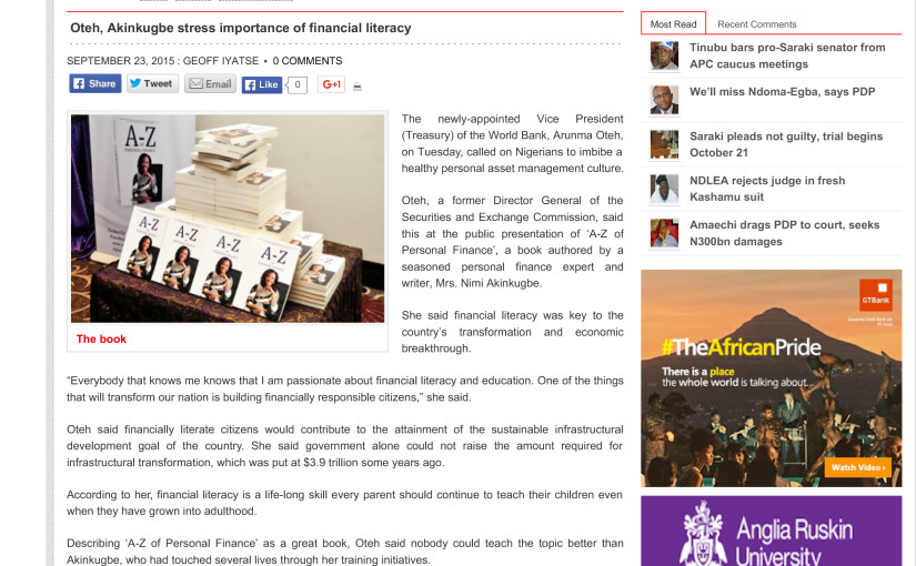Oteh, Akinkugbe stress importance of financial literacy