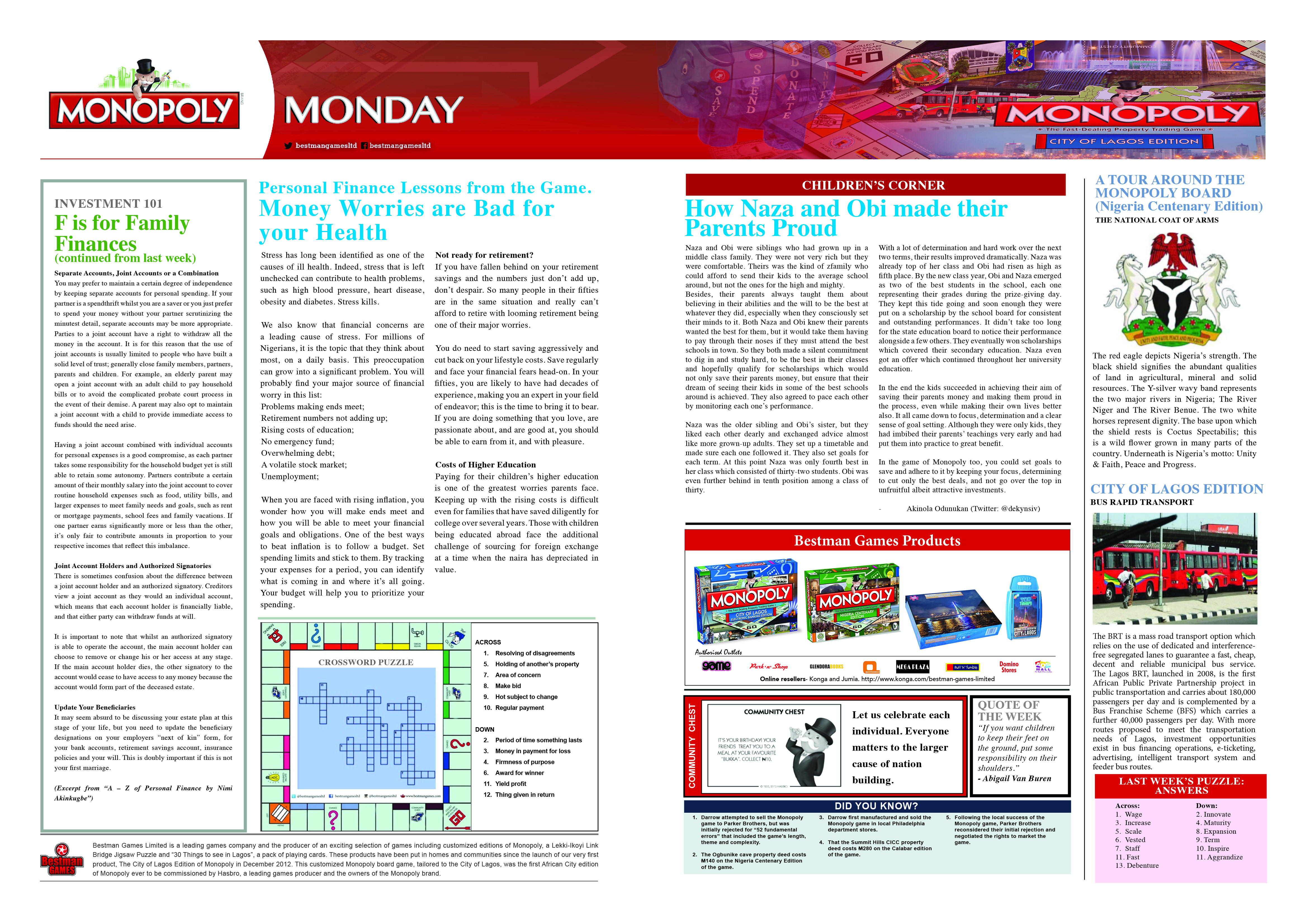Monopoly Monday - WeeK 17 - 9th May 2016