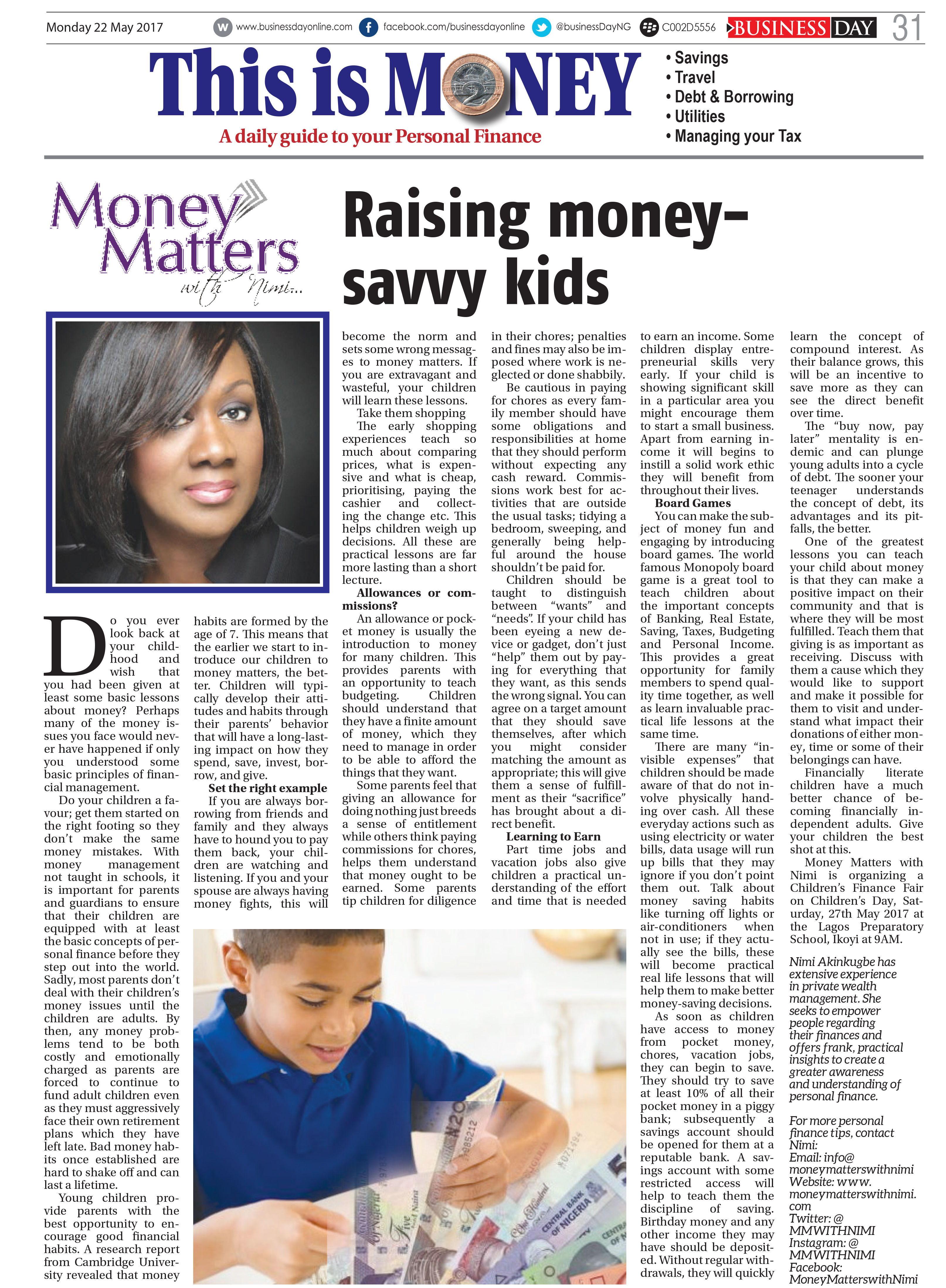 money 22 MAY 2017